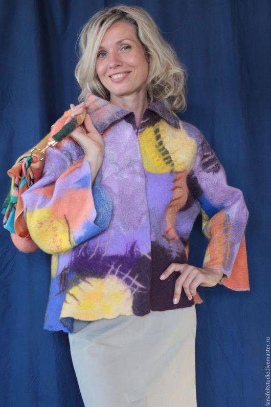"""Верхняя одежда ручной работы. Ярмарка Мастеров - ручная работа. Купить Полупальто """"Войлочная мозаика"""". Handmade. Комбинированный, полупальто, пальто"""