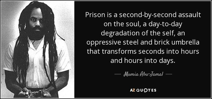 Prison is a second-by-second assault on the soul, a day-to-day degradation of the self, an oppressive steel and brick umbrella that transforms seconds into hours and hours into days. Mumia Abu-Jamal #prison #life #jail #penitentiary #relishthisjourney #lifequote #behindbars #lifebehindbars #prisonlife #soul #self #soulquote