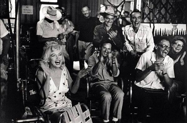 Marilyn Monroe, Eli Wallach, Clark Gable, Montgomery Clift & writer Arthur Miller having a laugh on set of The Misfits, 1961, John Huston.