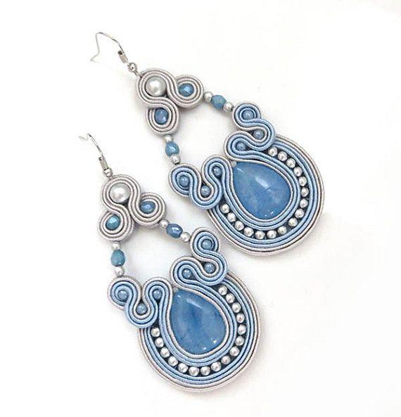 Long baby blue pastel earrings soutache earrings by sutaszula
