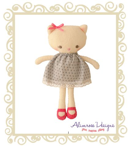 Alimrose Designs Chloe Cat Grey Spot such a sweet kitty cat with shoes and a bow in her hair - she rattles too. Approx 16cm.  $24.95