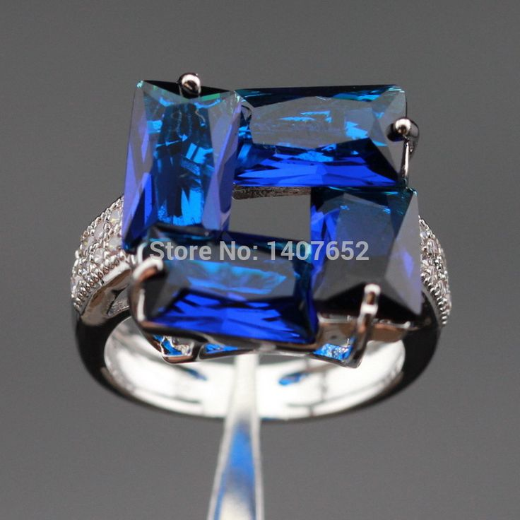 Laboratory Blue Created Sapphire White CZ Silver Color Wedding Rings For Women Jewelry  Free Gift Box