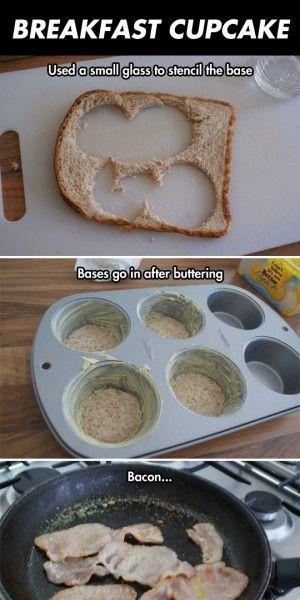 ontbijt cupcake gemaakt door bacon
