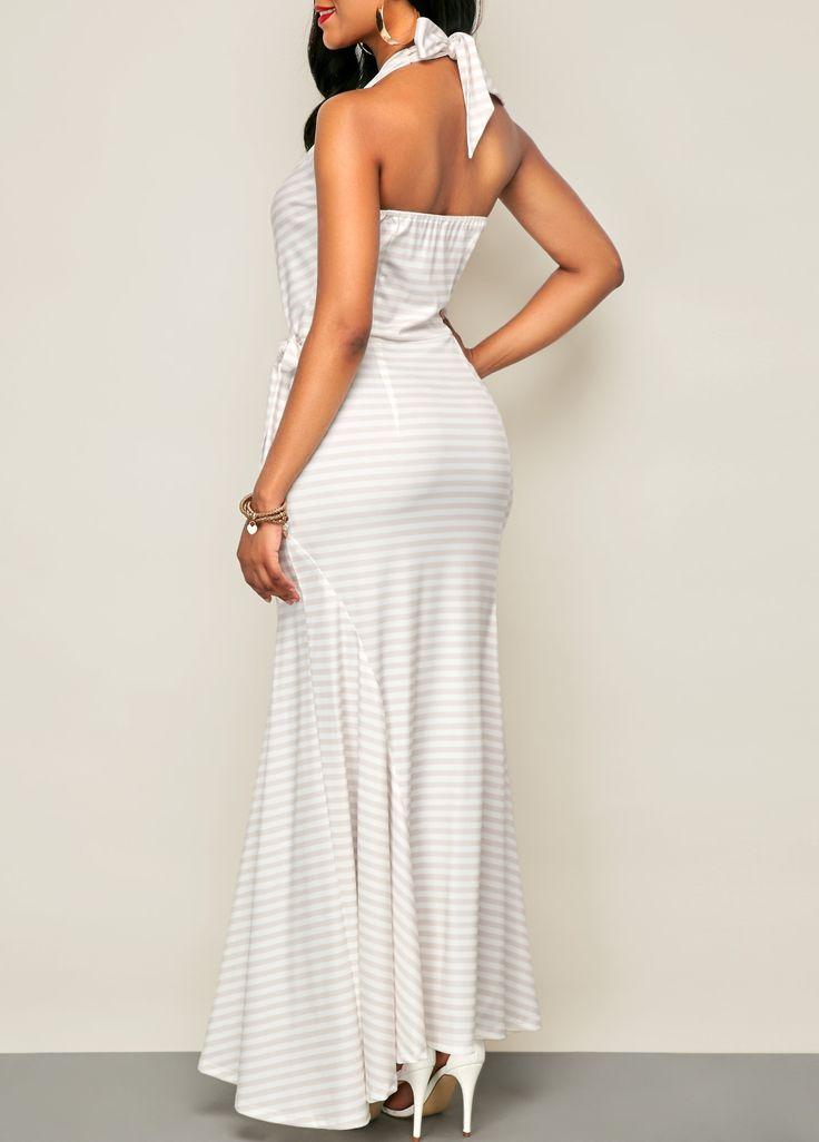 Tie Waist Printed Halter White Maxi Dress on sale only US$33.95 now, buy cheap Tie Waist Printed Halter White Maxi Dress at liligal.com