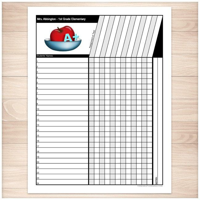 Printable personalized Teachers Grade Sheet to help teachers keep track of their students' grades. Each page holds up to 24 student's names and up to 12 grades.