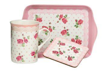 Premier Housewares 3-teiliges Tee-Geschenkset mit Becher/Tablett/Untersetzer 255ml, rosa: Amazon.de: Küche & Haushalt