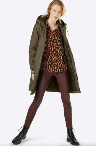 Leopard print blouse+maroon leather-look leggins+black lace-up boots+khaki parka. Fall Casual Outfit 2017