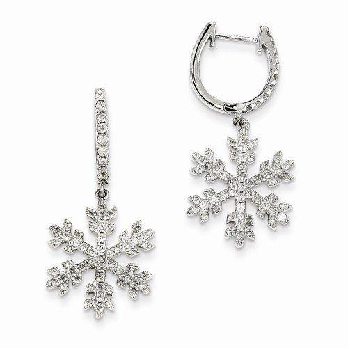Solid 14k White Gold Diamond Snowflake Earrings (0.97 ctt...