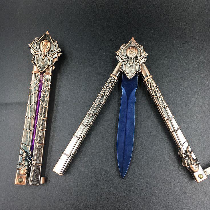 Mariposa en formación cuchillo hoja del cuchillo de acero inoxidable regalo Cuchillo plegable Práctica cuchillo Karambit trainer + caja de regalo de madera
