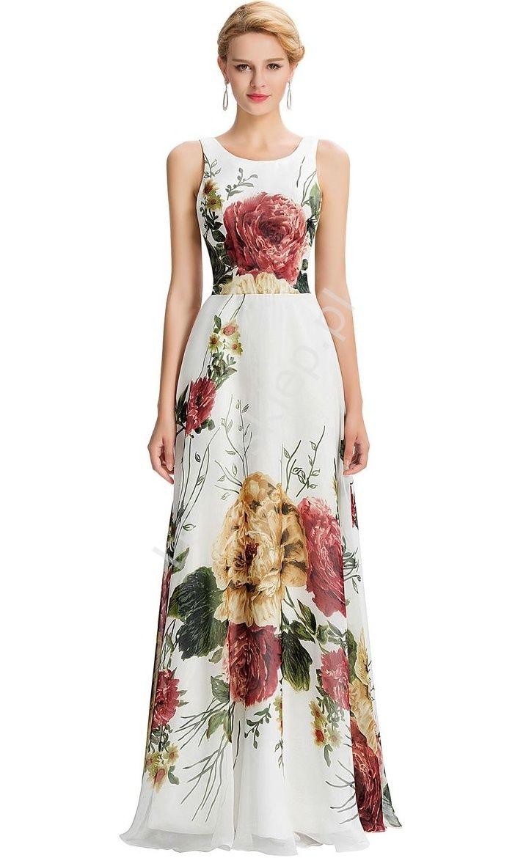 Długa biała suknia z nadrukiem w kwiaty | długa kwiatowa suknia | sukienki maxi