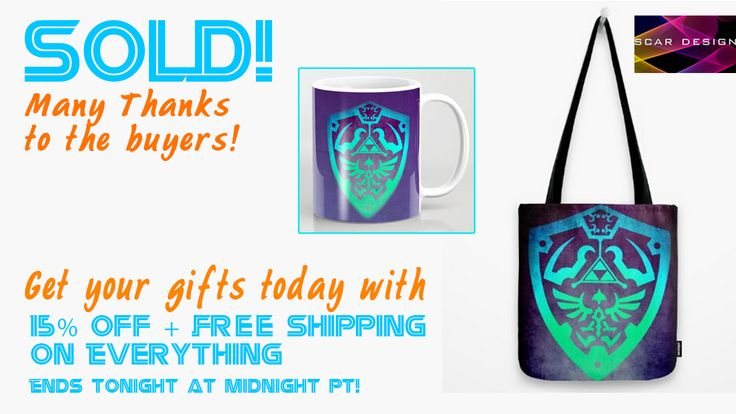 SOLD!!! Many Thanks to the Buyers!!! Shop your gifts with 15% Off + Free Shipping on Everything! Ends Tonight at Midnight PT!   #sold #society6 #zeldashield #zeldagifts #zeldamug #zeldatotebag #sold #society6 #spacetshirt #tshirt  #psychedelic #freeshipping  #sales #salesgifts #Xmasgifts #onlineshopping #ChristmasGifts #geek #nerd #geekgifts #nerdgifts