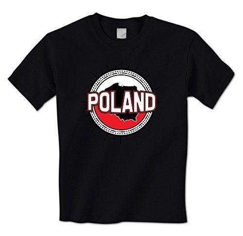 GILDAN man t shirt Made In Poland Country Flag Emblem Badge Mens T-Shirt