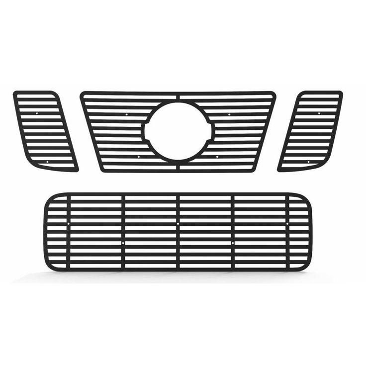 Black Powdercoat Horizontal Billet Grille Grill Insert Trim fits: 2008-2014 Nissan Titan - Ferreus Industries - TRK-136-01black