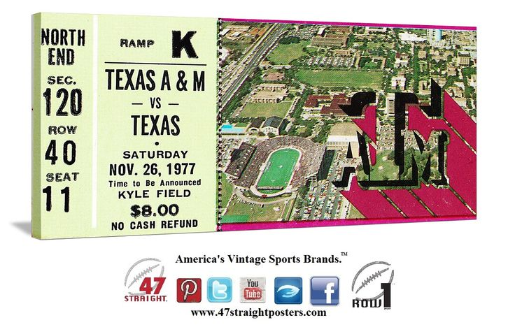 1977 Texas vs. Texas A&M football ticket art on canvas. #47straight #collegefootball #Texas #TAM #Aggies #Longhorns 47 STRAIGHT.™ Football gifts made from over 2,000 historic college football tickets.