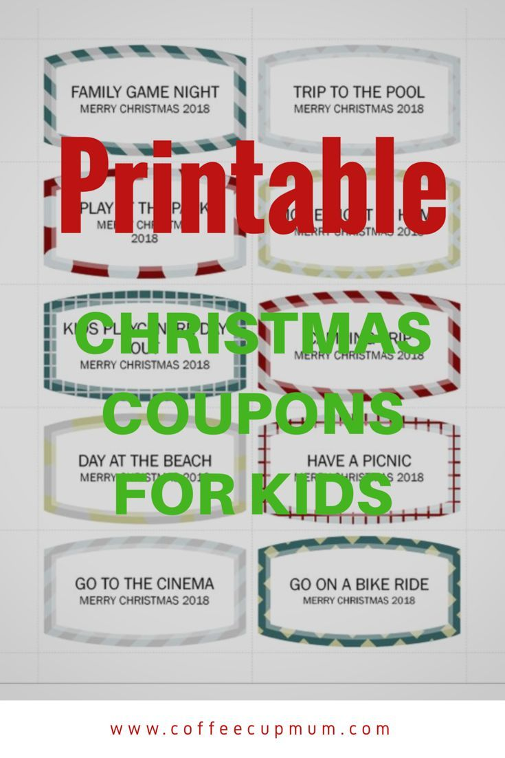 instant download christmas coupons for kids coffee cup mum