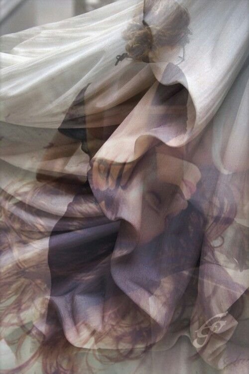 The three images of her sleeping, walking away and the hand in the billowing fabric make this a standout