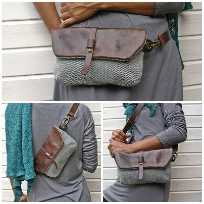 Hip Bag marsupio pelle e tela viaggiatore a di RuthKraus