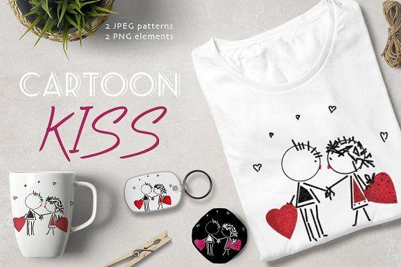 CARTOON KISS set  by Futurel on @creativemarket