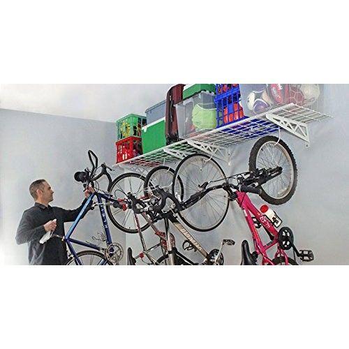 "Wall Shelves 18"" x 48"" (Two Pack) w/ 4 Deck Hooks - Garage Wall Storage"
