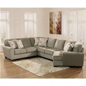 Ashley Furniture Patola Park - Patina 4-Piece Small Sectional with Right Cuddler - 1290055+77+34+75