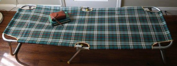 60s VINTAGE CAMPING COT Mid Century MOONRISE KINGDOM STYLE by ACESFINDSVINTAGE,