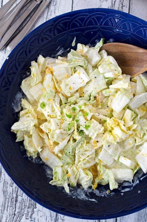 fruity and crisp chinese cabagge salad with mandarins. Fruchtig, knackiger Chinakohlsalat mit Mandarinen. Perfekt zum Grillen. Recipe also in english!