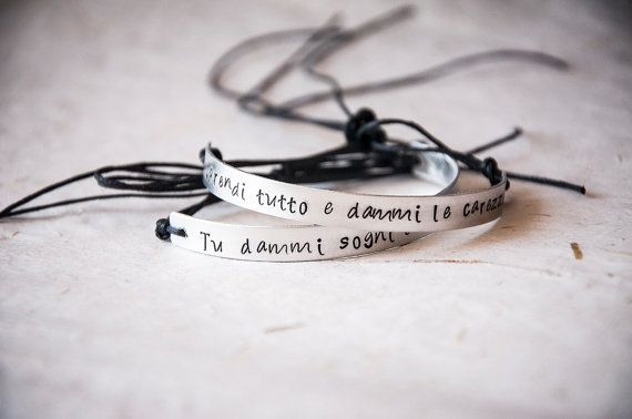 Semi rigid bracelet with custom quote by SilviaWithLove on Etsy