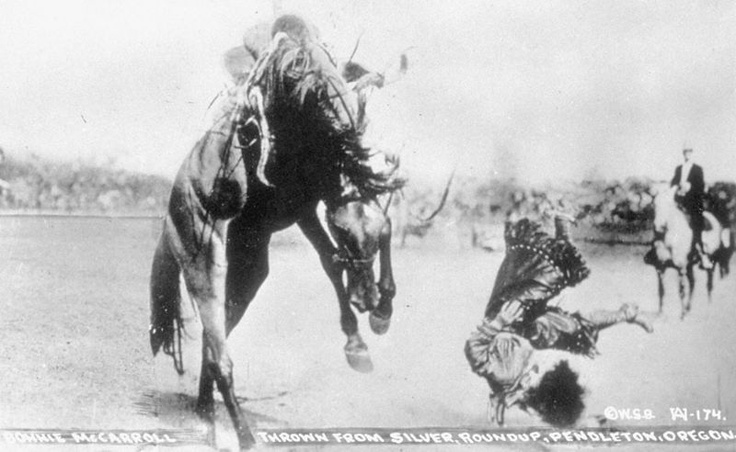 """""""One of the most famous rodeo snapshots ever taken is of Bonnie McCarroll being thrown from a horse named Silver at the Pendleton Round-Up in 1915"""" The National Cowgirl Museum and Hall of Fame"""