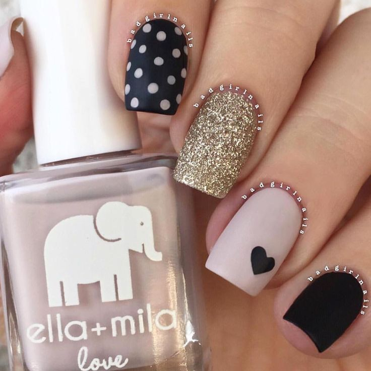 Neutral mix and match at its best! Super talented @badgirlnails used {honeymoon bliss} + {lights out} with {matte-ly in love} top coat. Stunning. #ellamila #ellamilapolish