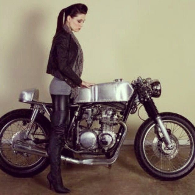 Cafe Racer, anyone? YES PLEASE!!!! Does it come with the awesome safety gear she's wearing? No!? That's OK. I was planning on ripping my skin off any way. She does look hot tho. Good for a photo shoot tho. #caferacer #custommotorcycle #motorcycle...