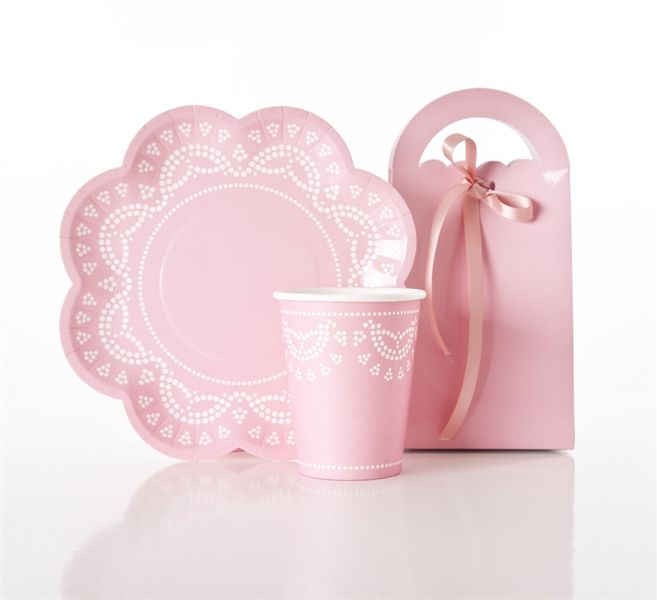 Lovely Lace plates, cups & treat boxes - inviteme