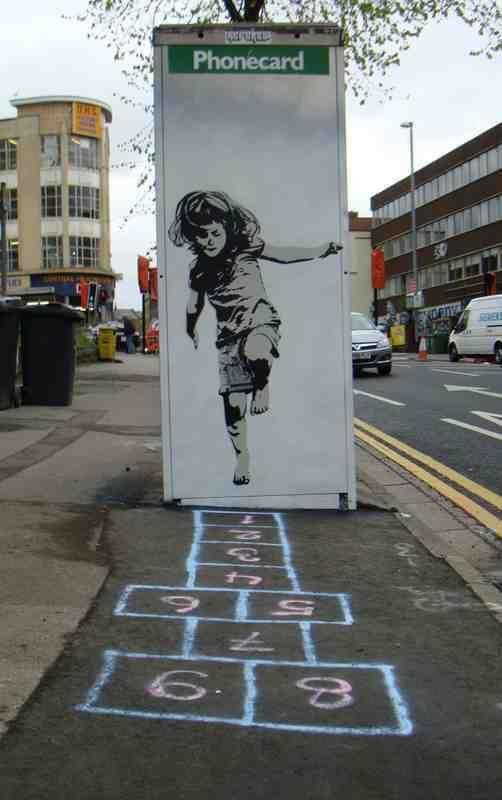 Banksy Hop Skip Jump Girl Phonebox (Phonecard payphone)