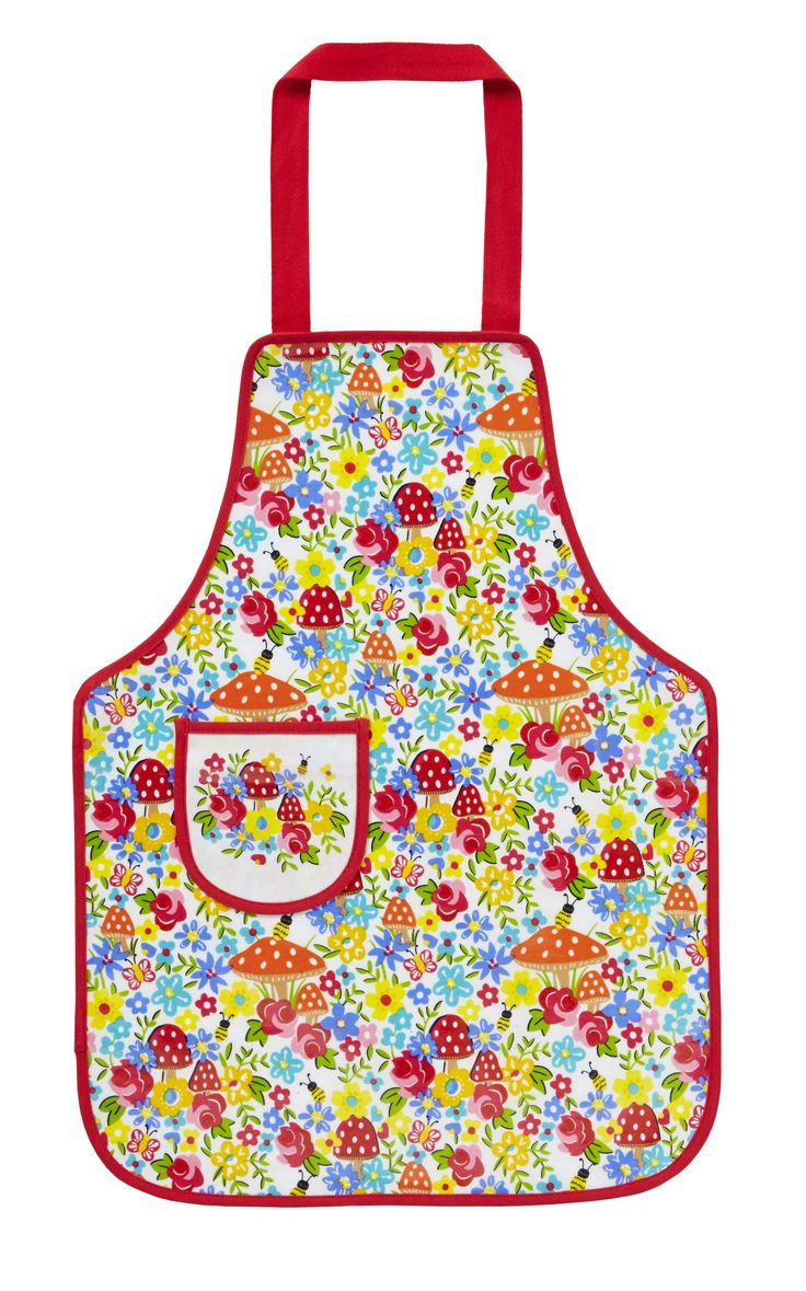 Toadstool PVC Childrens Apron by Ulster Weavers. A colourful array of toadstools to keep kids clean when baking or cooking in the kitchen.