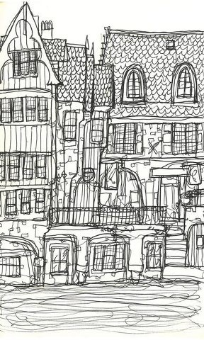 Bruges Continuous Line Drawing, Louise Taylor 2013