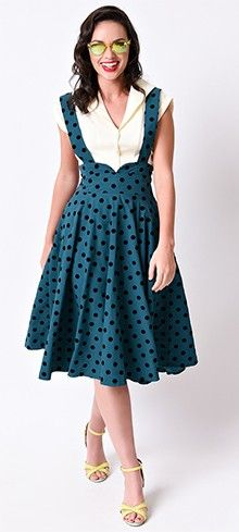 Collectif 1940s Green Crepe Flocked Dot Mary Suspender Swing Skirt