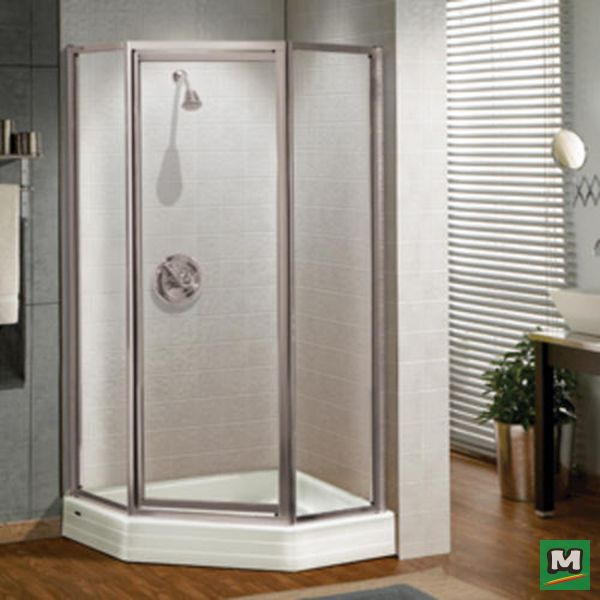 Perfect for a corner space, the MAAX® Silhouette Neo-Angle Shower Door features modest looks with its tempered glass construction and aluminum framework.