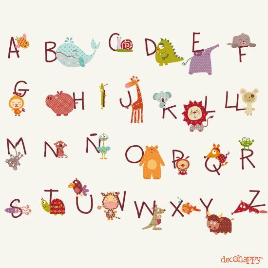 vinilo Infantil ABC   Animales Felices