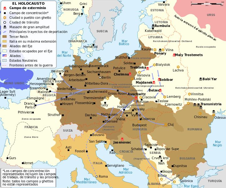 Map of the Holocaust in Europe during World War II, 1939-1945.  This map shows all extermination camps (or death camps), most major concentration camps, labor camps, prison camps, ghettos, major deportation routes and major massacre sites.