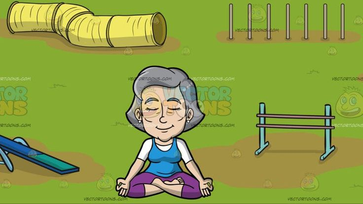 A Mature Woman Sitting In Lotus Yoga Pose At An Dog Agility Course:  A mature woman with gray hair wearing a white shirt under a blue tank top purple leggings closes her eyes and smiles in concentration while sitting on the floor legs crossed index finger and thumb touching each other to do the half lotus yoga pose. Set in a playground with gray fences grass sandy patches blue seesaw hurdles yellow tube and platform with random trees surrounding the area.