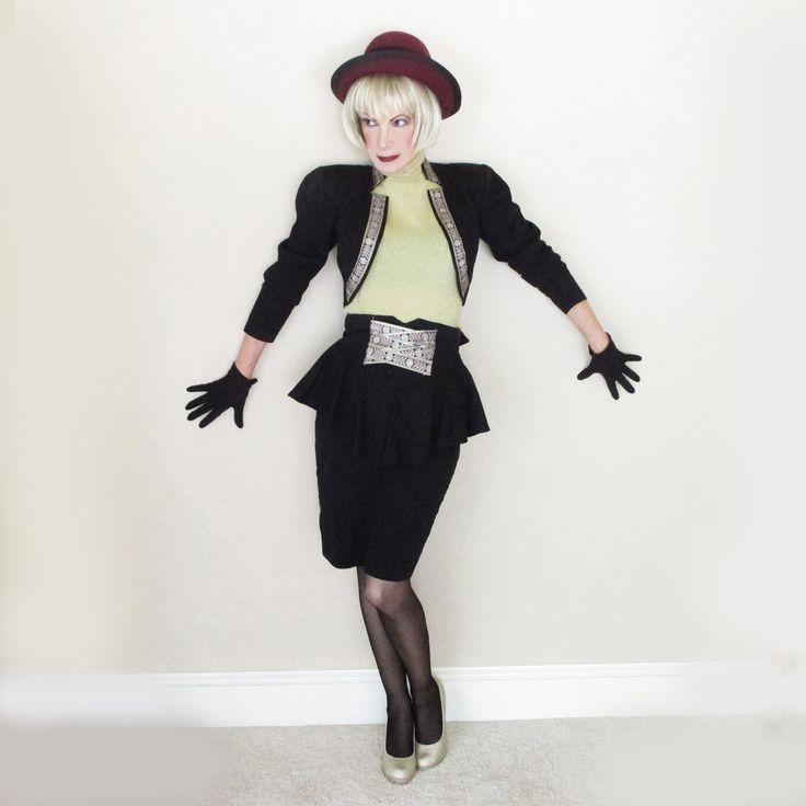 80s Vintage Bolero & Peplum Skirt Suit - Iconic 1980s Power Shoulders Club Kid Fashion - SML by LunaJunctionVintage on Etsy