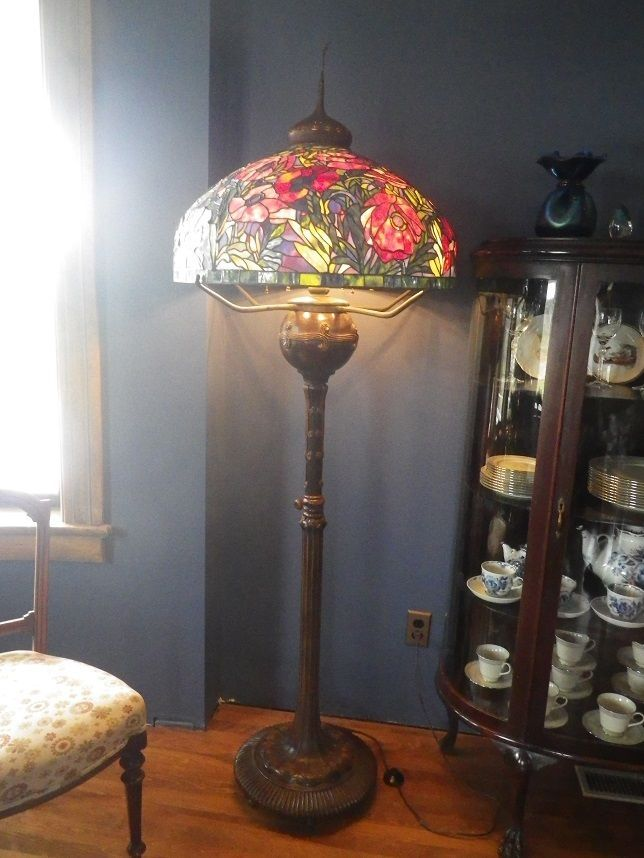 Huge Reproduction Tiffany Style Oriental Poppy Stained Glass Floor Lamp |  EBay