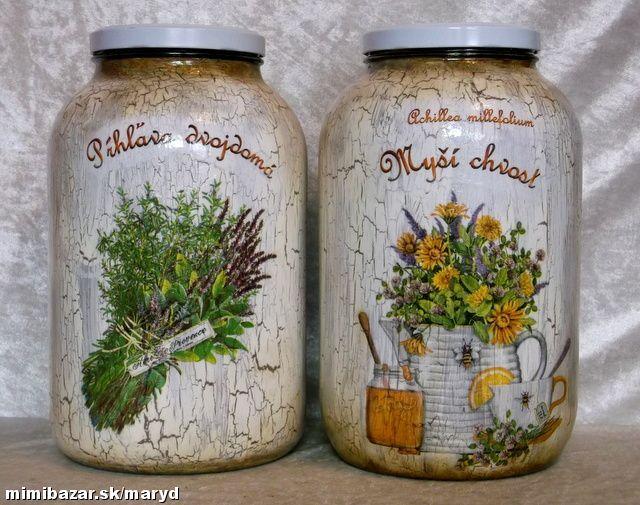 Veľké poháre na bylinky-Large glasses on herbs decoupage