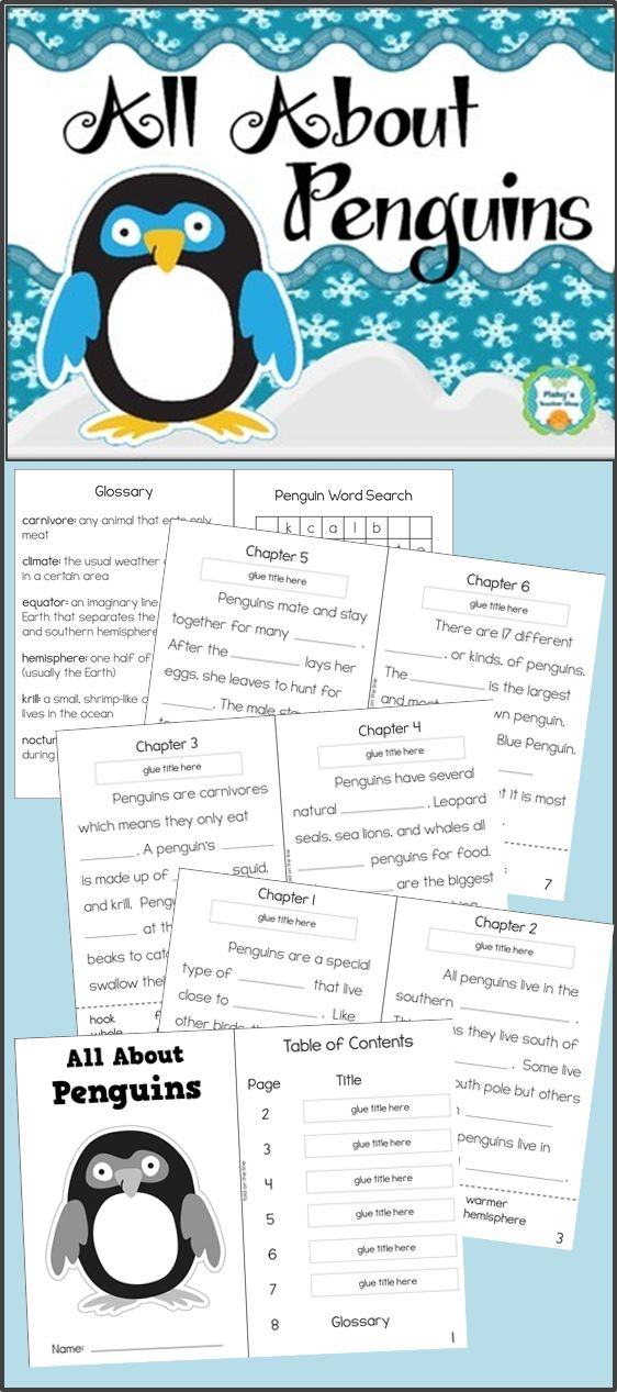 Informational text activity book about penguins - Skills practice in identifying main idea, using context clues, and vocabulary - Grades 2-3
