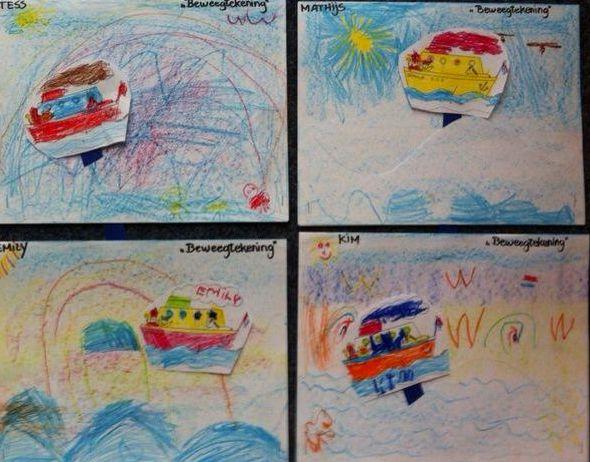 Beweegtekening. Maak een tekening extra speciaal door de boot aan een (ijs)stokje of strook karton te bevestigen. Gleufje in de tekening maken en je kunt de boot laten 'varen.' Idee met dank aan juf Lydia.