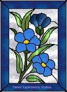 glass painting designs: Flax Flowers - glass painting patterns