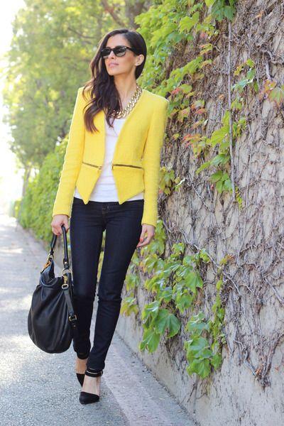 yellow blazer black pants sunglasses zara forever21