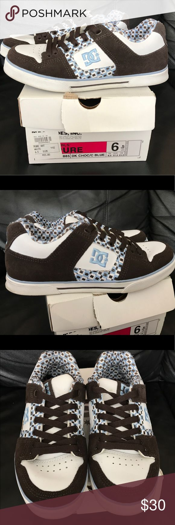 DC skate shoes women's 6.5 Used handful of times still goo used condition just a little dirty lol cute brown and baby blue color combo DC Shoes Sneakers