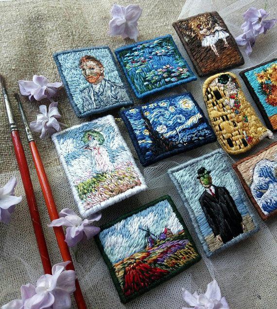 Broche de broderie étoilée de Vincent Van Gogh nuit à la main, bijoux d'art célèbre peinture Textile, broche de Van Gogh broderie art, cadeau de professeur d'art