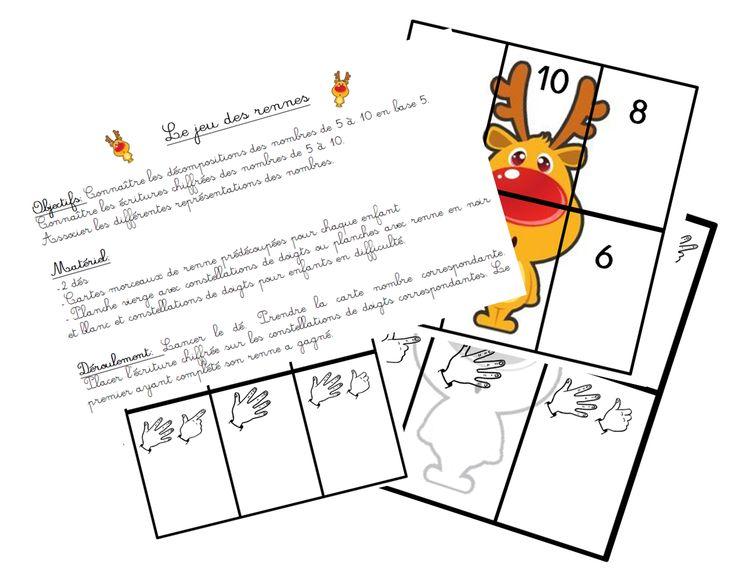 Le jeu du renne - Nombres de 5 à 10 - Maitresse, au tableau !