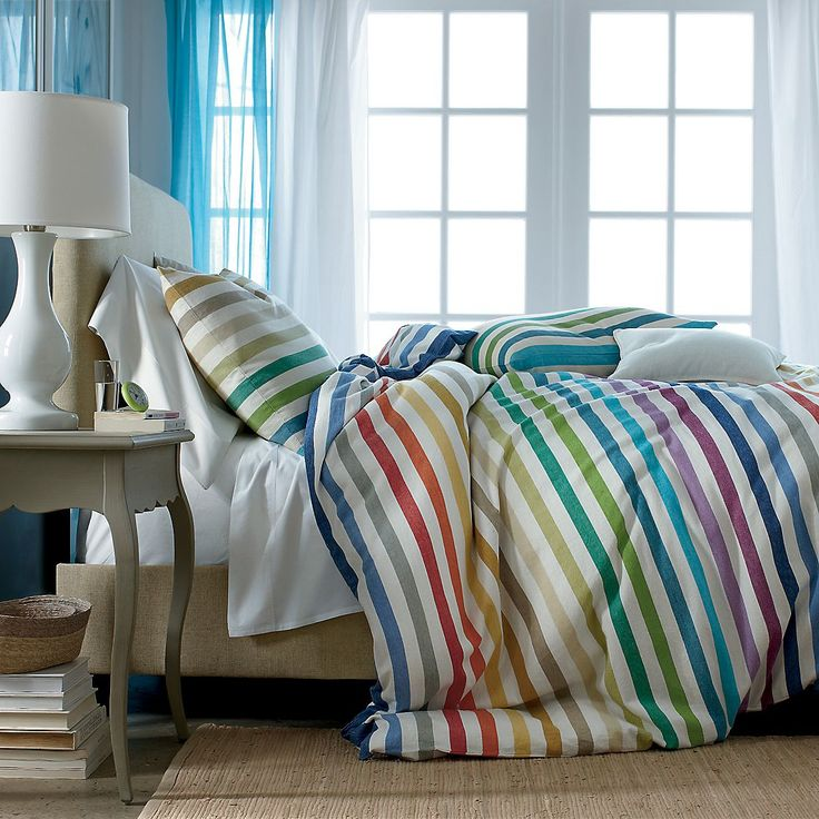 Candy Stripes! Island Stripe Comforter Cover: Stripes Comforter, Comforter Covers, Islands Stripes, Duvet Covers, Company Stores, Beds Sets, Bright Colors, Bedrooms Fun, The Company Store